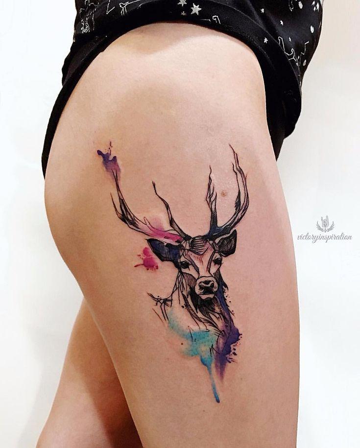 Hirsch tattoo on thigh new school by Viktoriya Toropova – tattoo – # on #hear #new #sharp #school