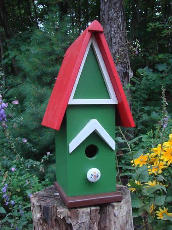 Red Roof Birdhouse Wooden Birdhouse Painted Birdhouse | bird ...