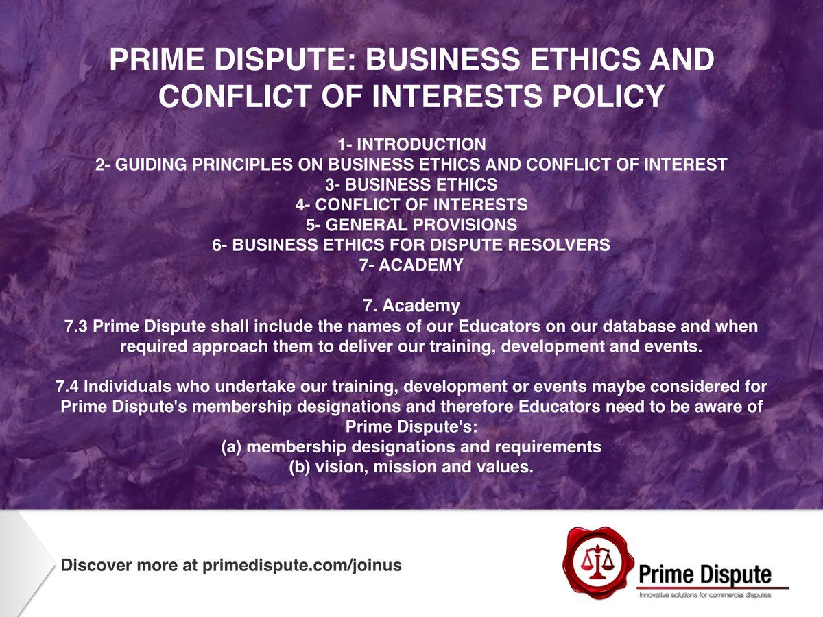 Business Ethics Conflict Of Interests Policy Article 7