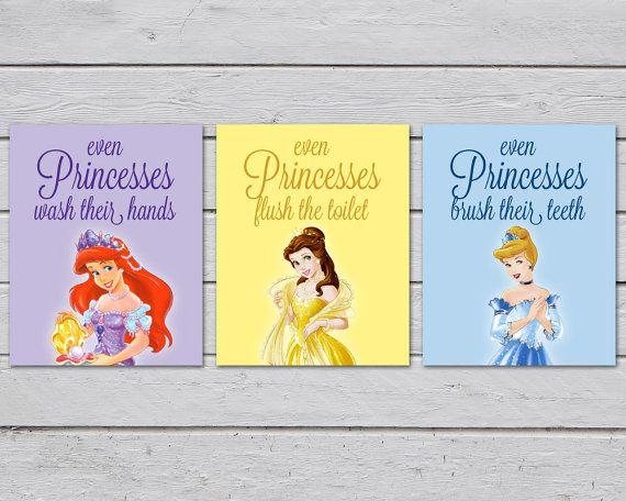 Disney Princess Wall Art / Girls Bathroom Art / Bathroom Rules / Set ...