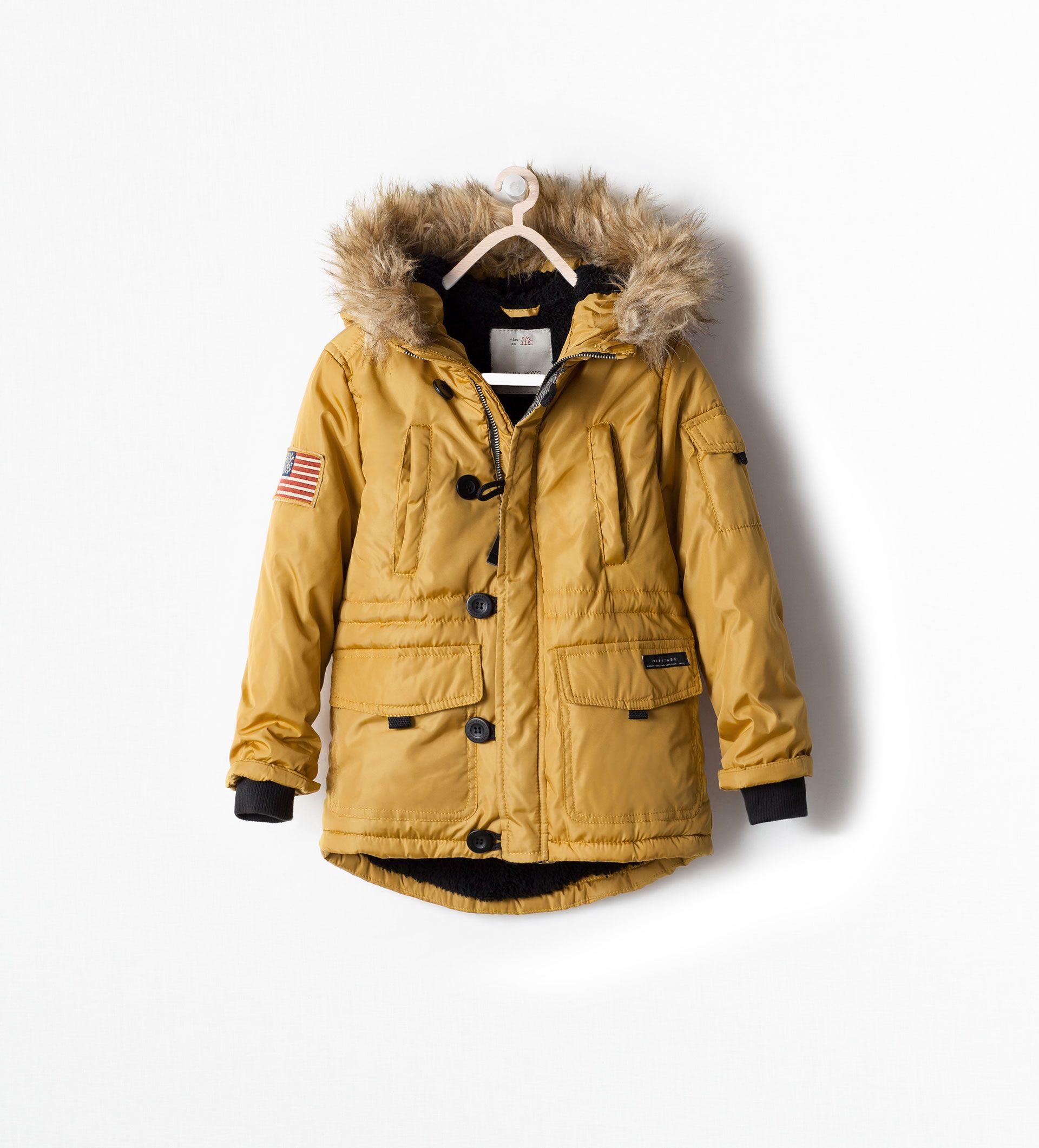 Zara Kids Padded Coat With Detachable Fur Style