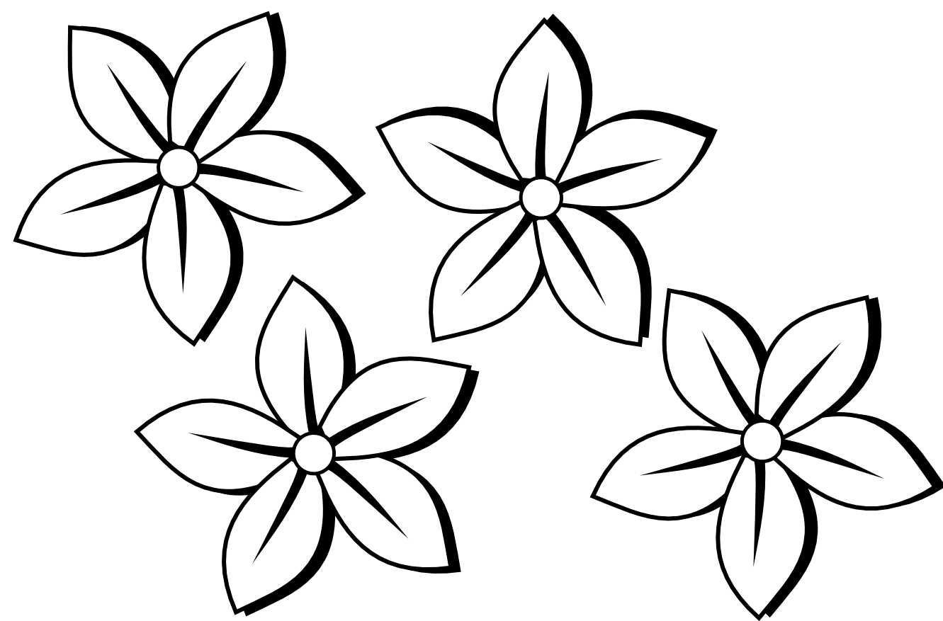 Clipartistfo Four Flowers Flora 80 Black White Line Art