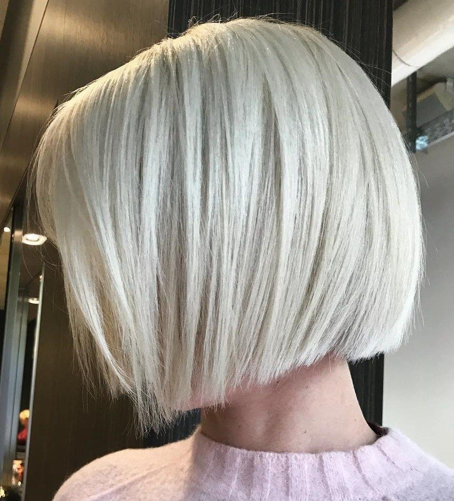 Jaw-Length Accurate Silver Bob  Bob haircut for fine hair, Short