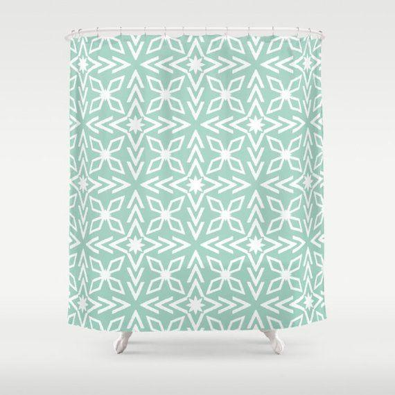 Mint Shower Curtain Seafoam Green Star Shapes Contemporary Mode