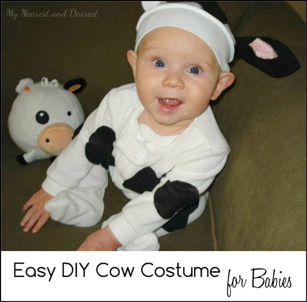 how to make a cow costume for a baby super easy and so cute - Baby Cow Costume Halloween