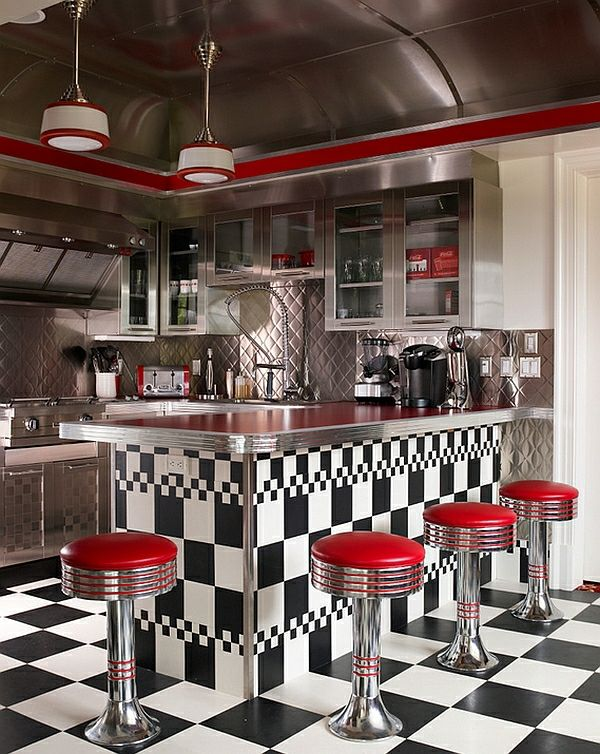 Retro Kitchen Metal Shiny Walls And Ceiling