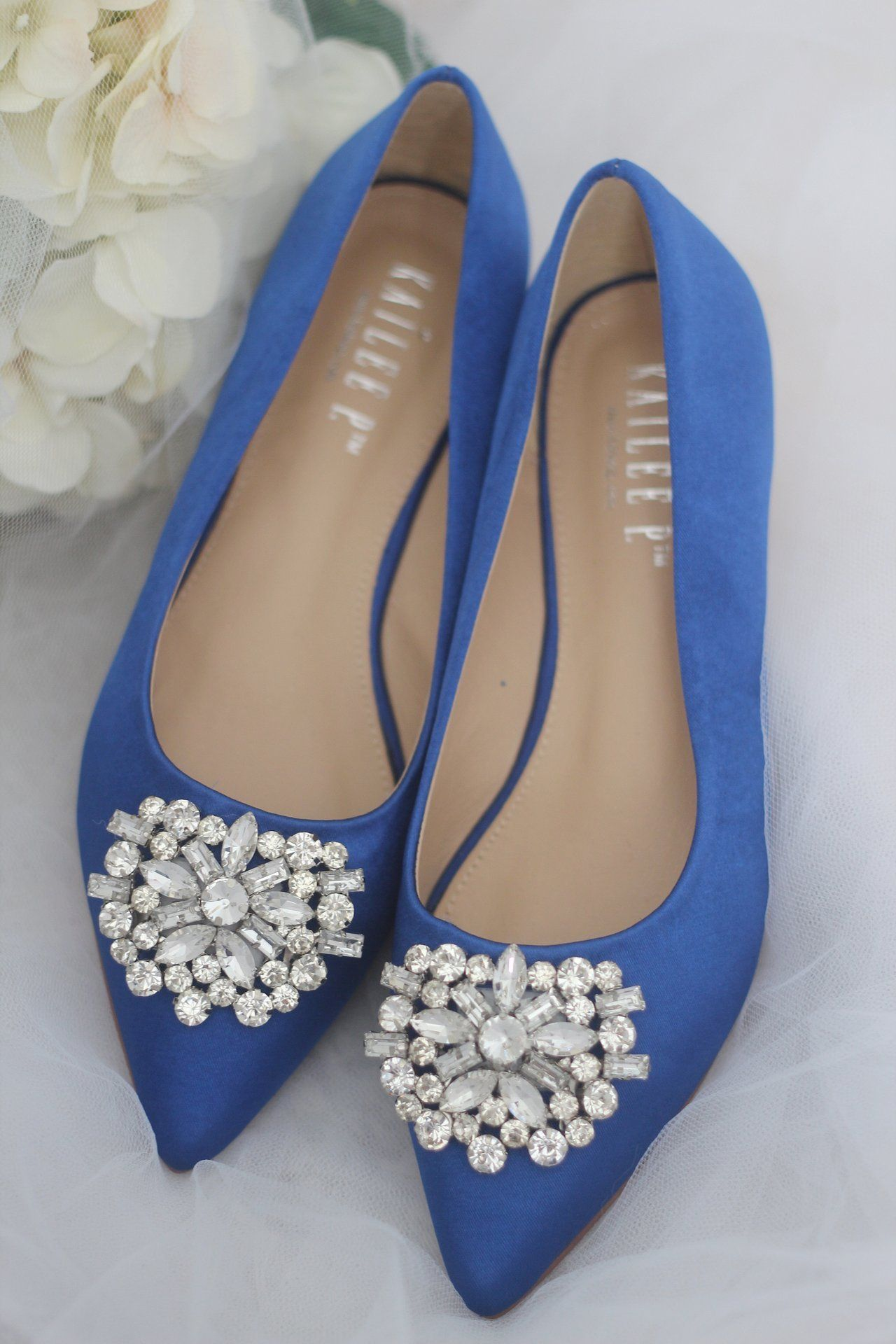 9f13e76fc ROYAL BLUE Pointy Toe Flats with Oversized Rhinestone Brooch in 2019 ...