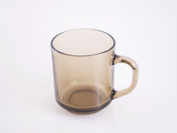Arcopal France Mug Smoked Glass Coffee Mug Retro 1970s Large
