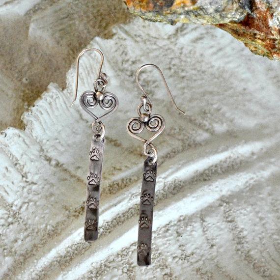 Sterling silver Dog paw print dangle earrings. Hand ...
