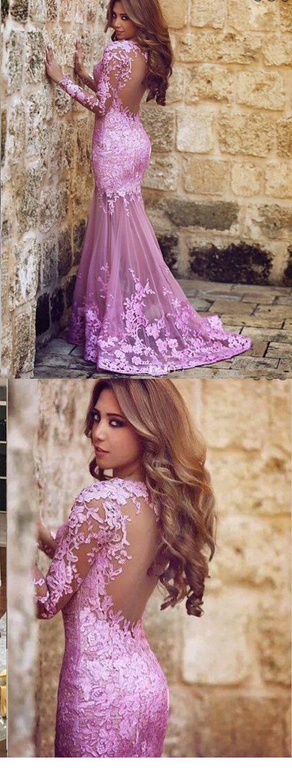 Mermaid long sleeves open back purple tulle prom dress cheap prom