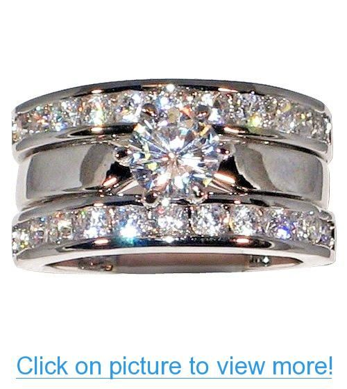 2 54 Ct Solitaire Cubic Zirconia Cz Platinum Plated Bridal Engagement Wedding Ring Guard Set Center Wedding Ring Guard Wedding Rings Engagement Wedding Rings