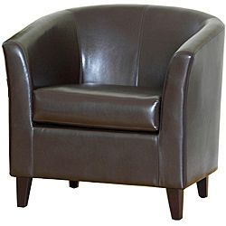 @Overstock - A curved shape and luxurious leather upholstery highlight this barrel club chair. This chair features a rich brown color and reinforced stitching.http://www.overstock.com/Home-Garden/Brown-Bonded-Leather-Barrel-Club-Chair/5222489/product.html?CID=214117 $249.99