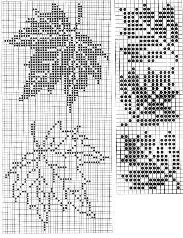 Double Leaf Knitting Pattern : Maple Leaf Pattern ~ Counted cross stitch, or filet crochet. CRAFTS - Croch...