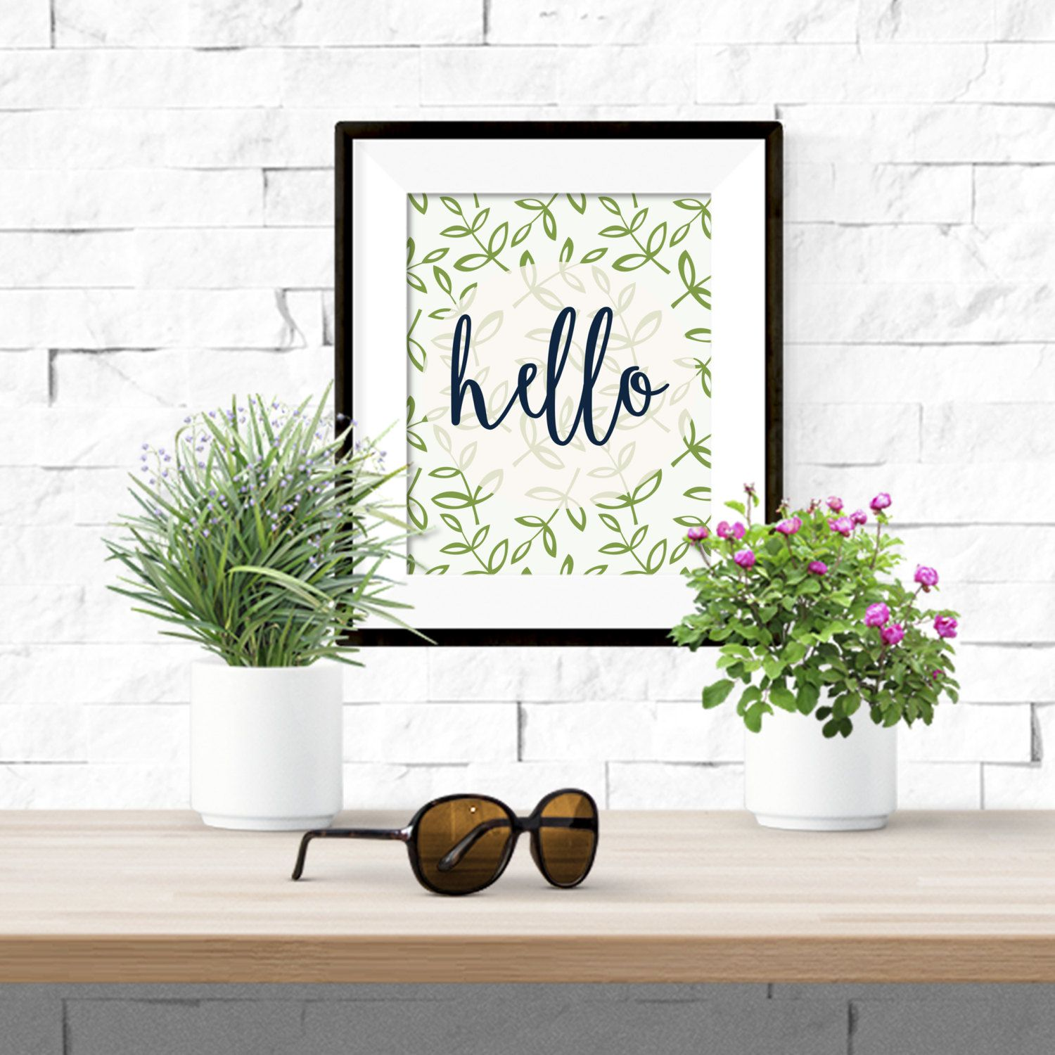 Hello Navy with Green Leaves Printable Artwork - 8x10 Digital Download by theorangeleaf on Etsy