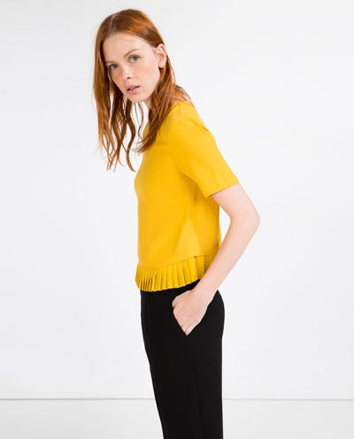 Image 5 of TOP WITH PLEATED HEM from Zara