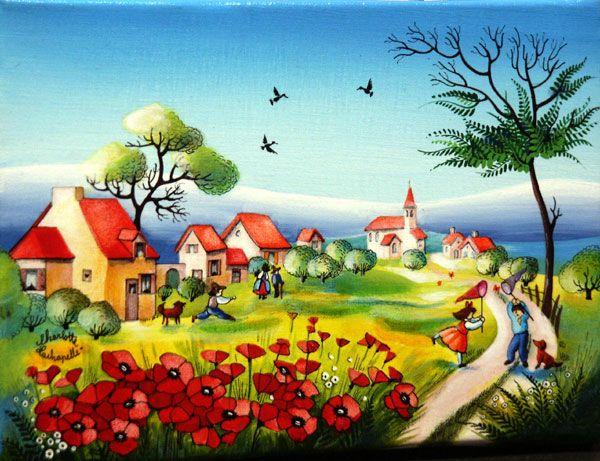 peinture charlotte lachapelle a la chasse aux papillons art naif folk art pinterest. Black Bedroom Furniture Sets. Home Design Ideas