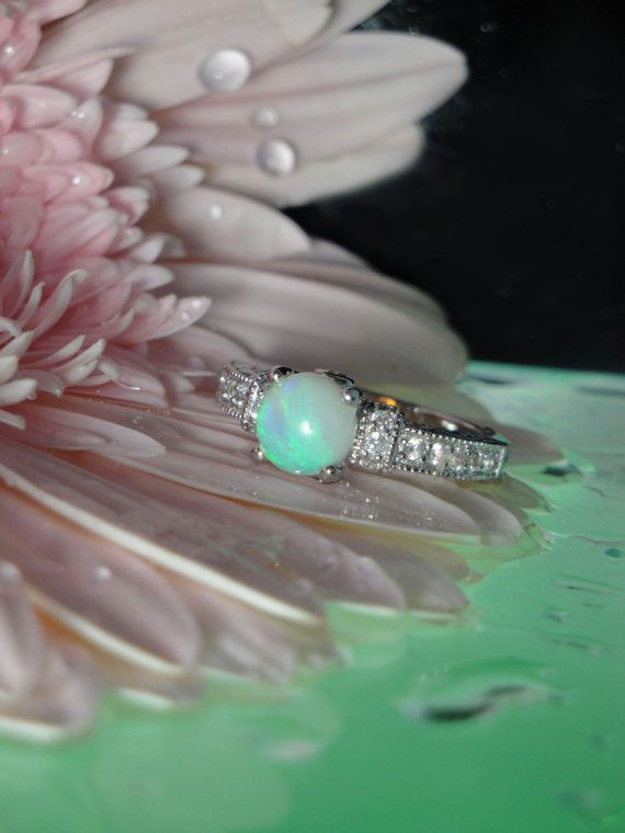 Opal Ring Lighting Ridge Sterling Silver Antique Style by greengem, $265.00