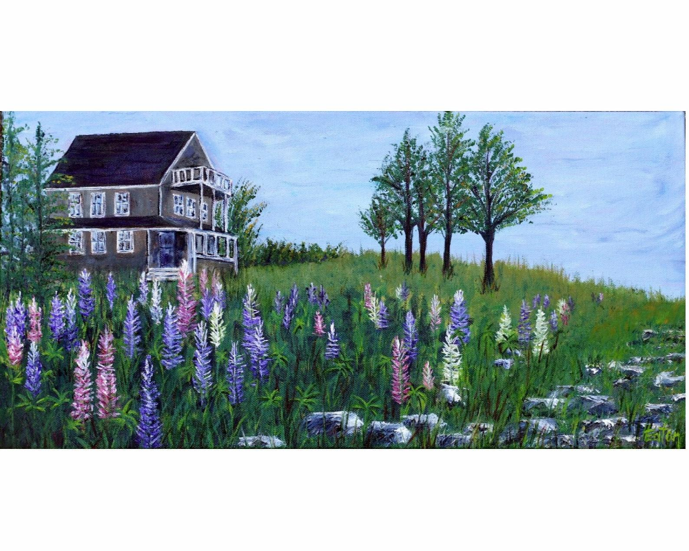 Lupine Cottage Mini Canvas