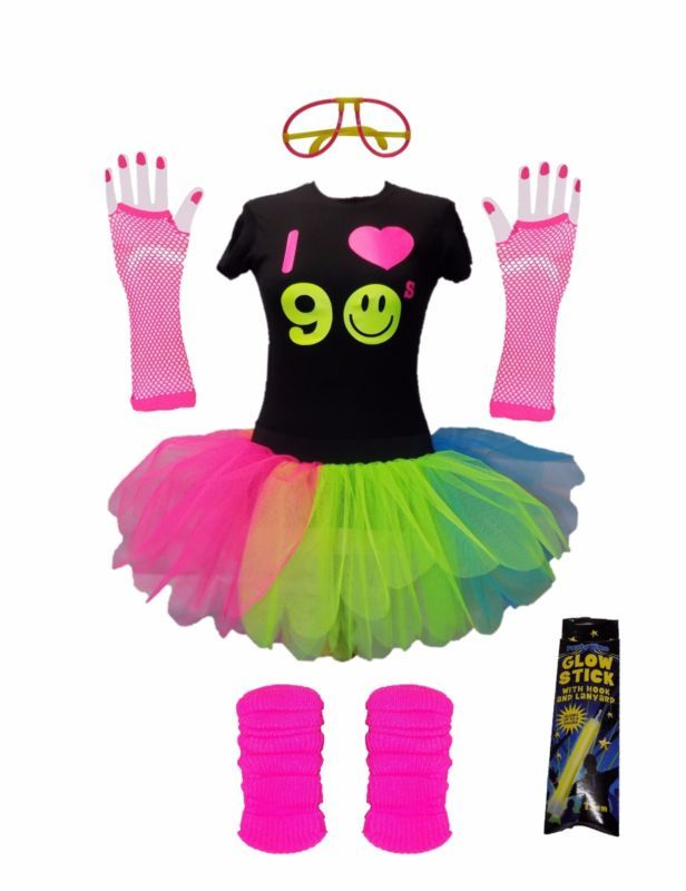 7a2ca1799 I Love 90s Neon Rainbow Tutu Skirt 90's Flo Fancy Dress T-Shirt Set Hen  Party