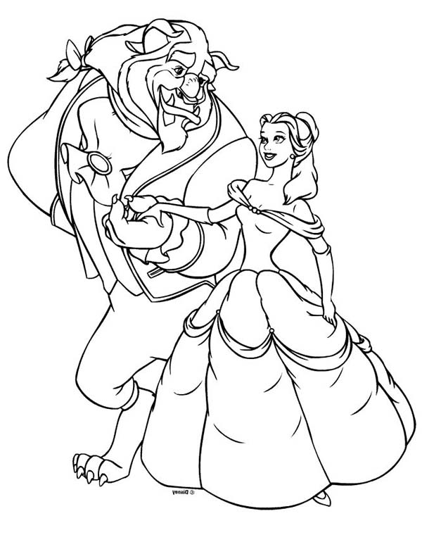 Belle And The Beast On Disney Princesses Coloring Page Kids Play Color Princess Coloring Pages Belle Coloring Pages Disney Coloring Pages