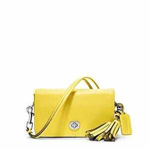 Yellow Coach Legacy Purse In Lemon With A Tassel