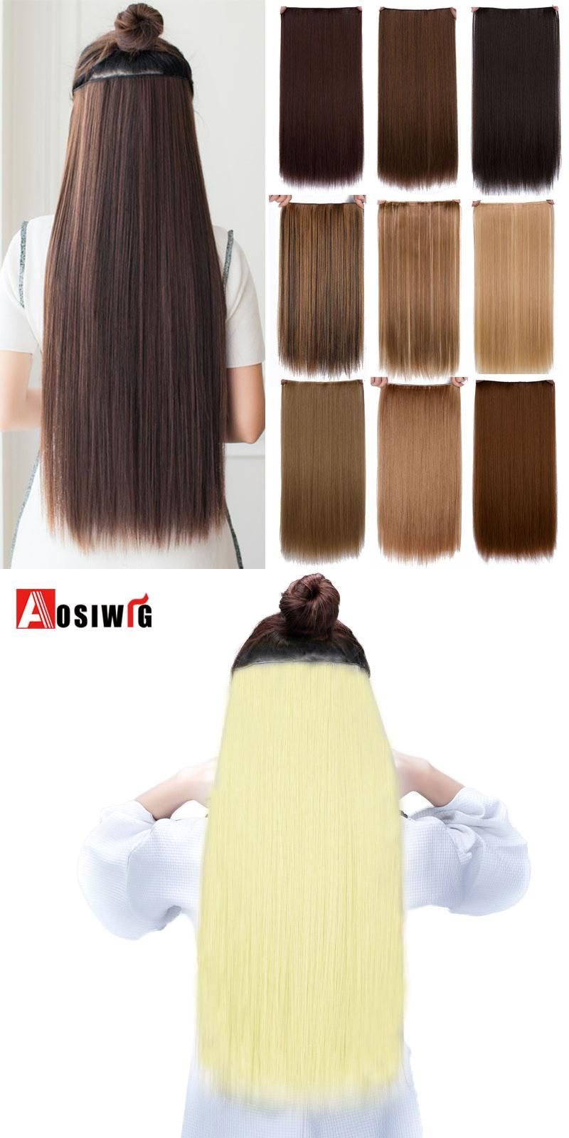 Aosiwig 5 Clips On Clip In Hair Extensions Heat Resistant Synthetic