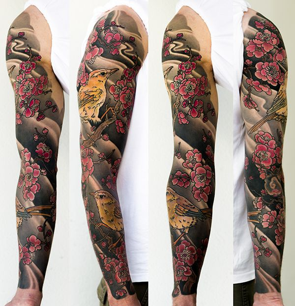 Colored Sleeve Tattoo Of Birds: George Bardadim Bardadim.tattoo Japanese Full Sleeve