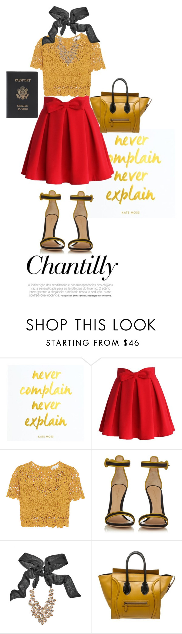 """""""mustard"""" by littlemisskarlee ❤ liked on Polyvore featuring Chicwish, Miguelina, Gianvito Rossi, GUESS by Marciano, CÉLINE and Royce Leather"""