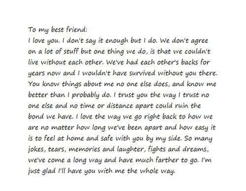 Best Friend Letter