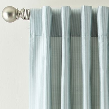 Royal VelvetR Silk Pinstripe Back Tab Rod Pocket Curtain Panel