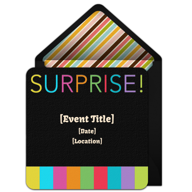 One Of Our Favorite Free Surprise Party Invitations Stripes Easily Personalize And Send Via Email For A Fun Milestone Birthday