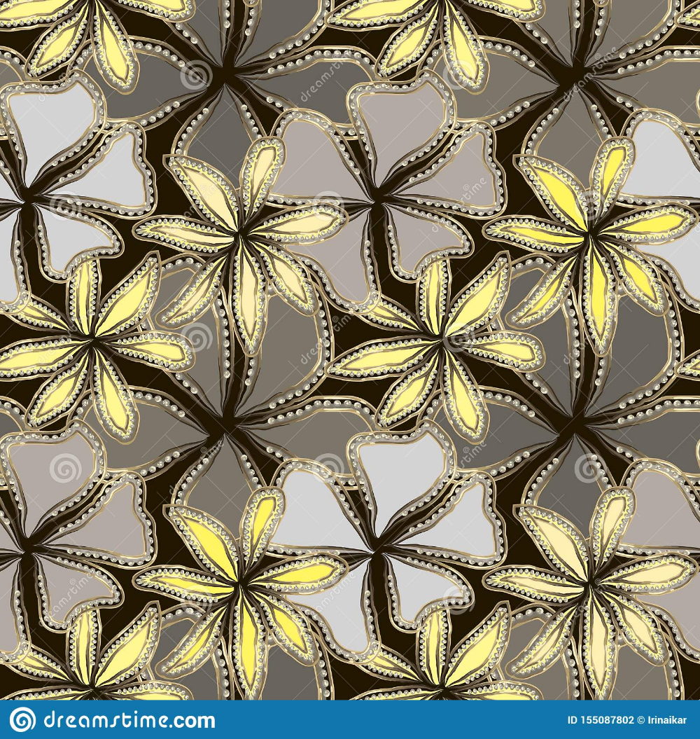 Abstract gray and yellow flowers in gold frame with