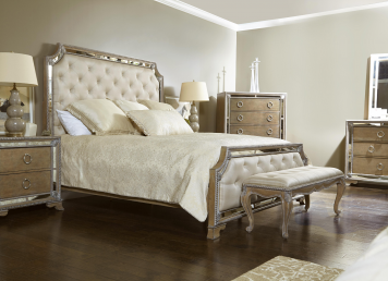 Karissa Button Tufted Upholstered Bedroom Set in Light Wood ...