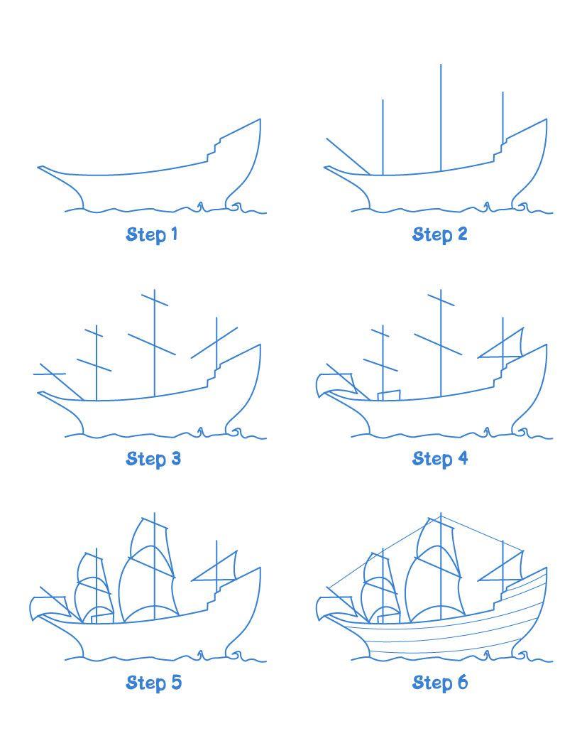 Schiff Malen Einfach - Ausmalbilder