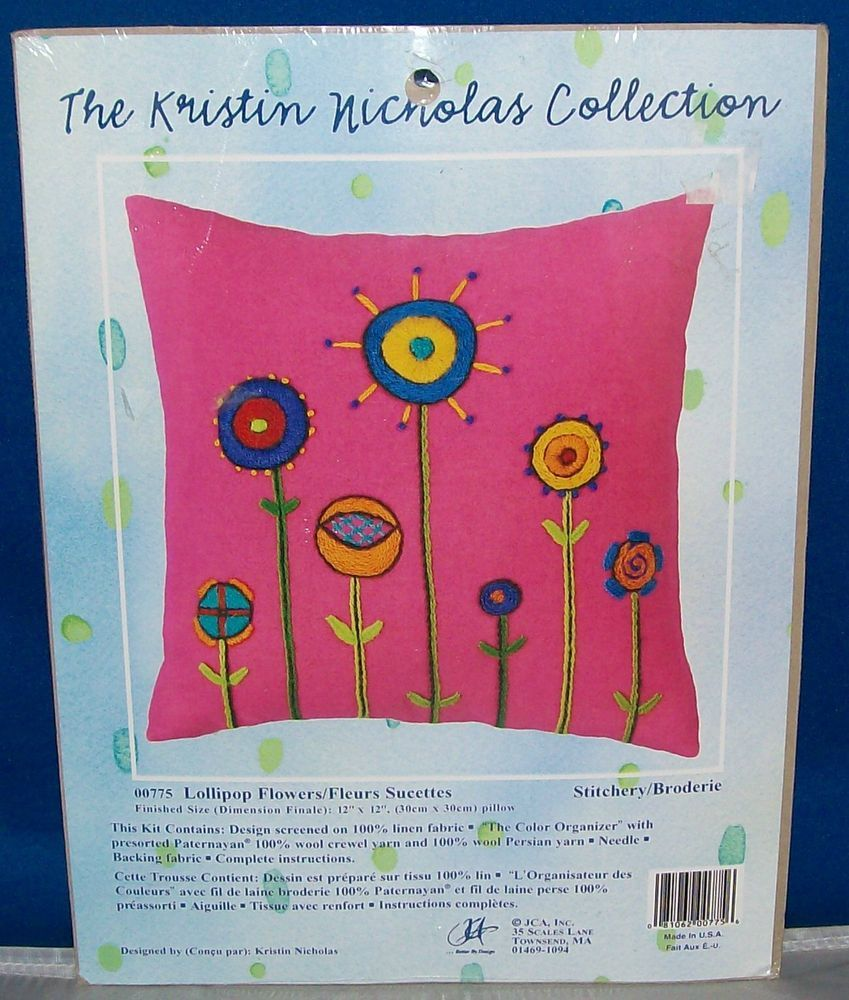 JCA Kristen Nicholas Collection Crewel KIT-LOLLIPOP FLOWERS Pillow - NIP #JCATheKrstinNicholasCollection