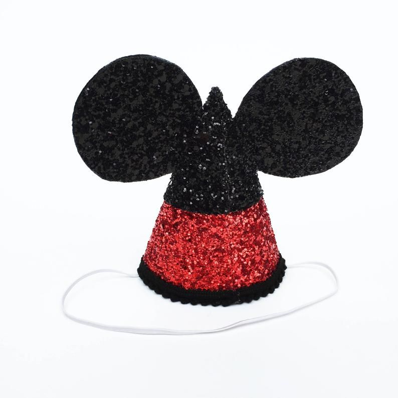 Mickey Mouse Birthday Hat Disney Birthday Party Hat Cake Smash Glitter Hat Mickey Mouse Ears Baby First Birthday Mickey Mouse Birthday Birthday Party Hats First Birthday Hats