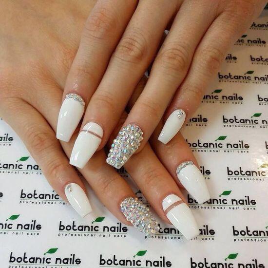 White Diamond Coffin Nails With Images Botanic Nails