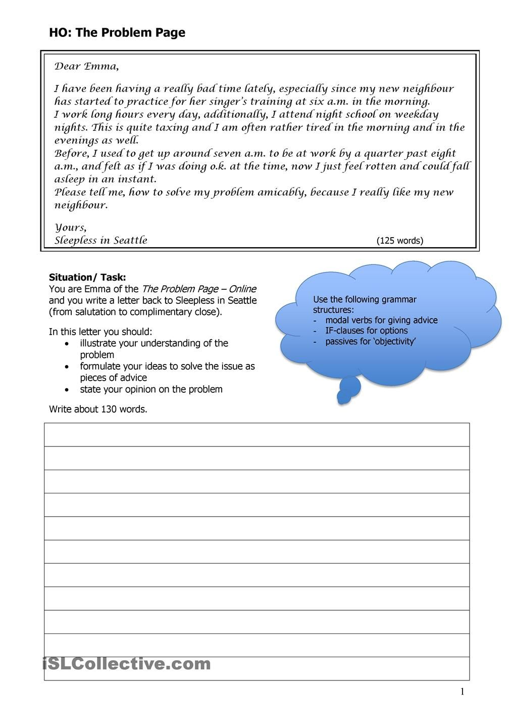 Letter To The Agony Aunt  Anglais    Aunt Worksheets