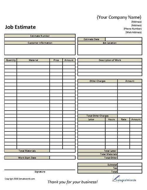 Basic Job Estimate Form Construction Roofing estimate, Estimate