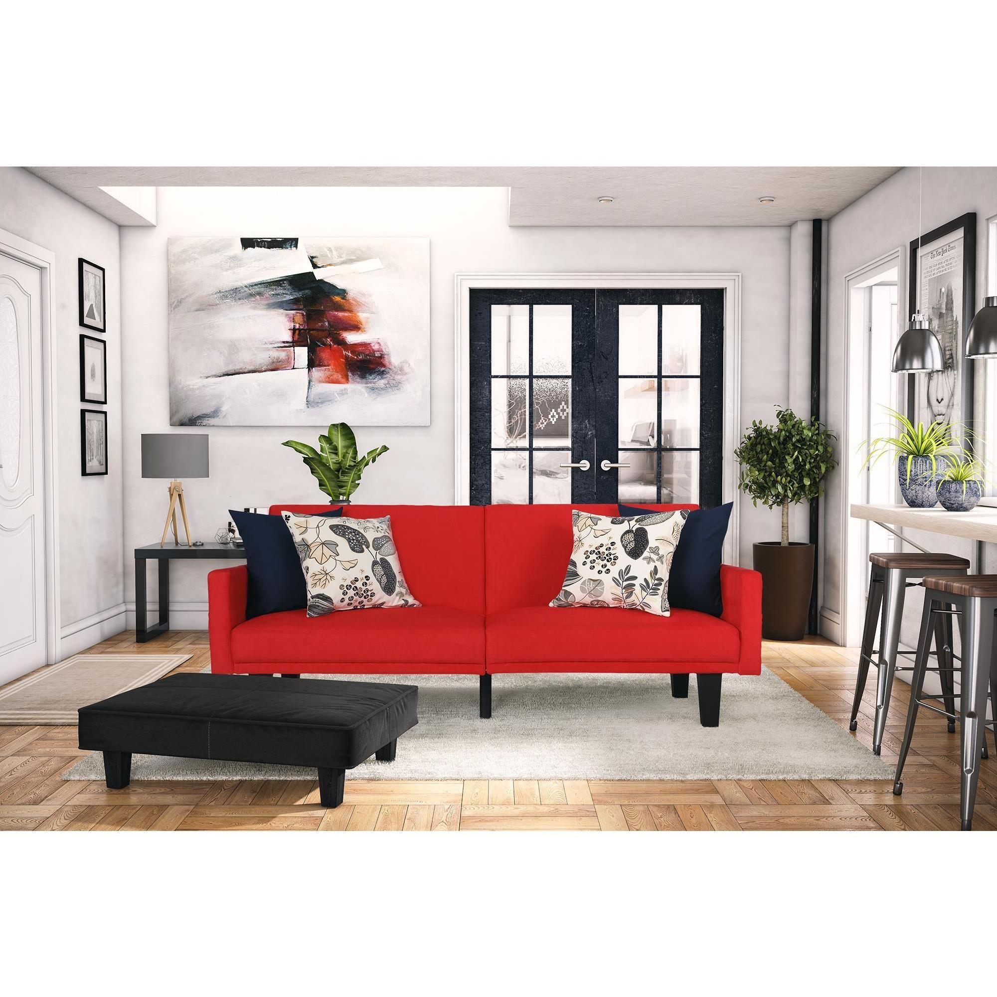 DHP Metro Red Microfiber Split Futon (Split-back futon, red), Size Twin
