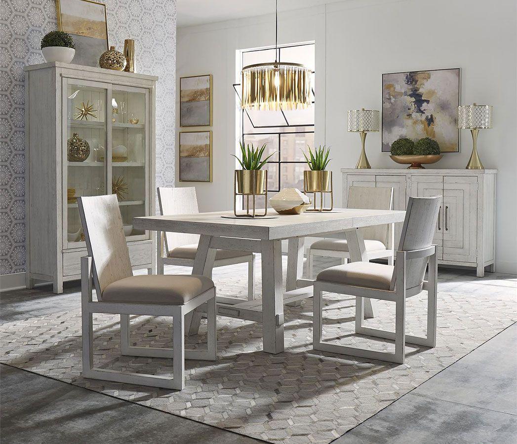 Modern Farmhouse Rectangular Dining Room Set (Aged White