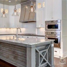 Gorgeous Gray And White Kitchen With Subway Backsplash Island Wine Rack Kitchen Design Home Kitchens Farmhouse Kitchen Decor