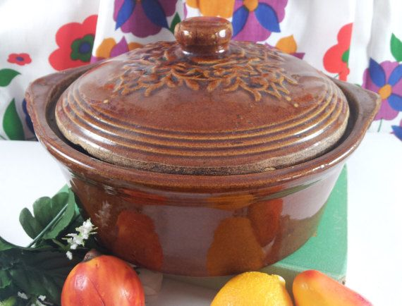 Sale country brown pottery covered casserole by acornabbey on etsy