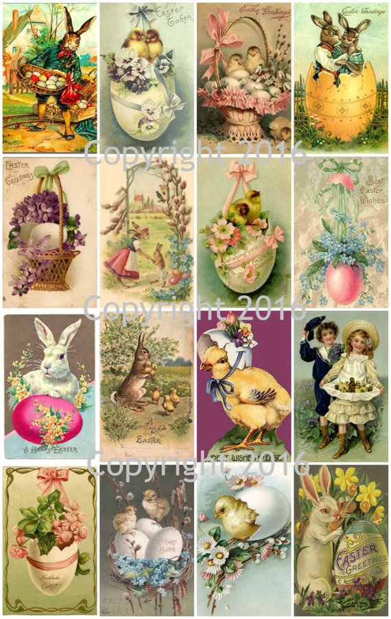 Fabric Block Vintage Easter Postcard Printed onto Fabric Easter Egg Cart