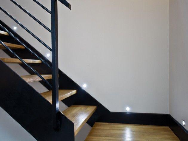 Escalier en bois et m tal avec luminaire design d co maison pinterest salons lofts and cosy - Luminaire escalier maison ...