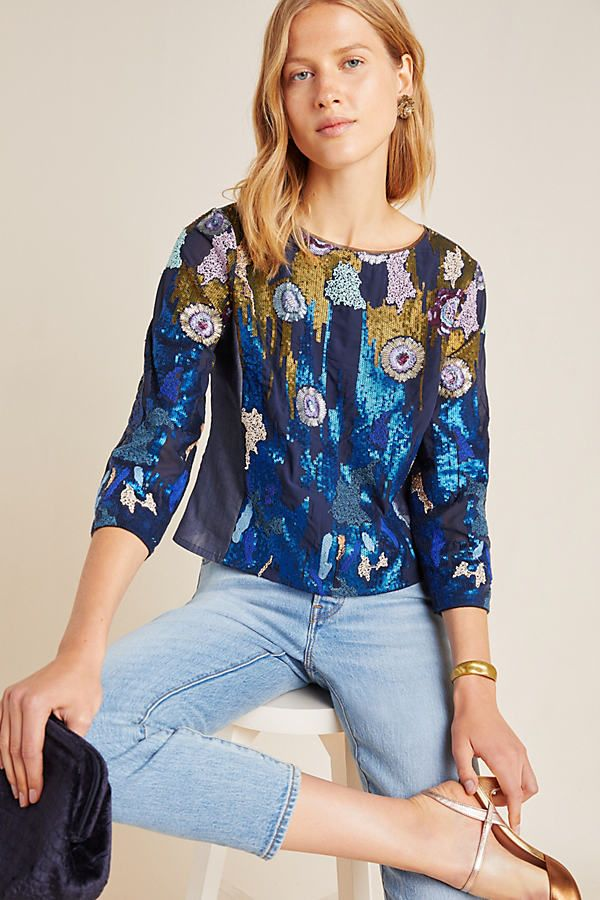 Orla Sequined Blouse by Geisha Designs in Assorted Size: Xs, Women's Tops at Anthropologie #designofblouse