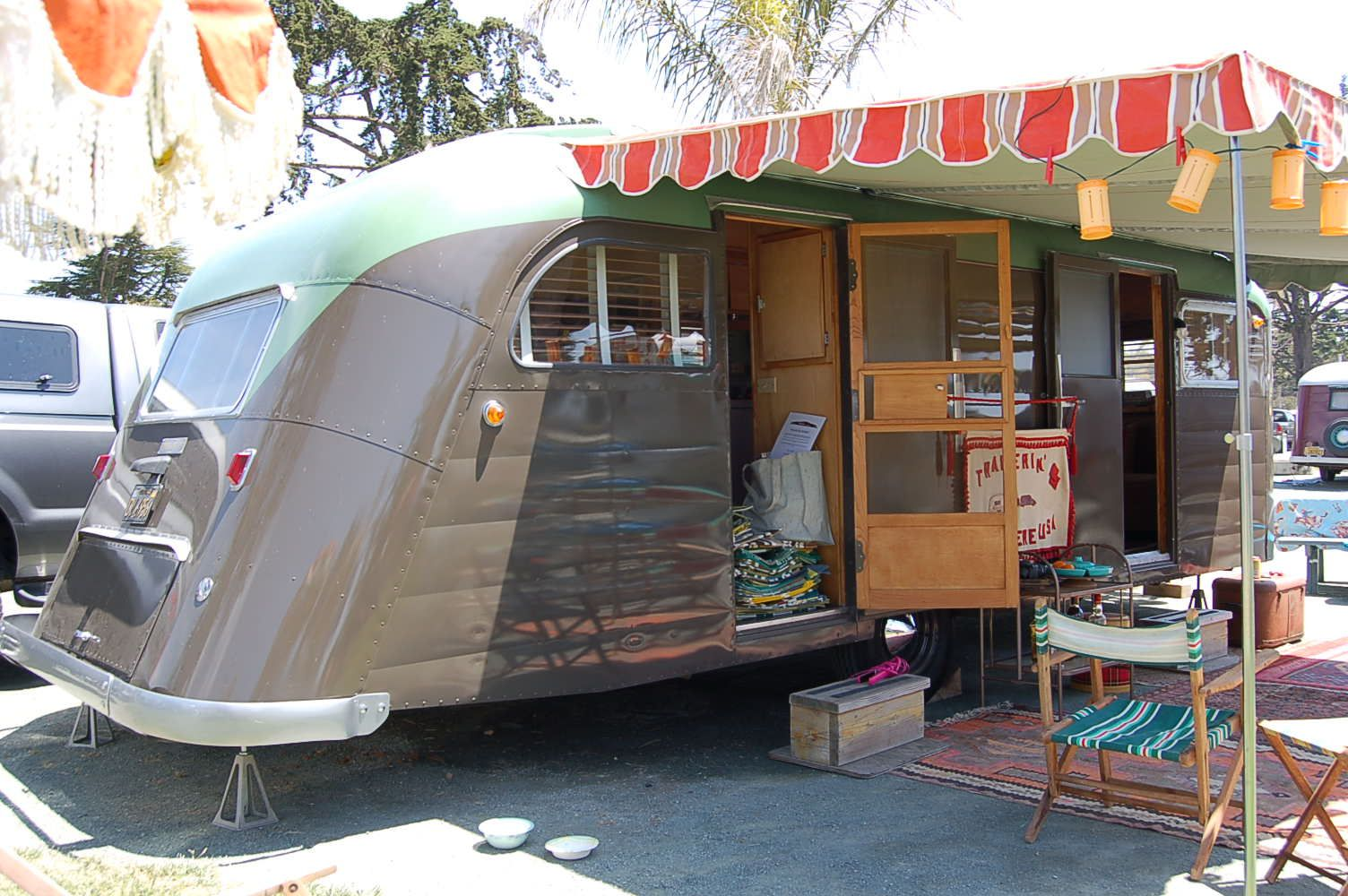 Photo Of 1950 Westcrft Coronado Vintage Trailer With Orange And Brown Awning With Retro Scalloped Edge Vintage Trailer Trailer Awning Vintage Travel Trailers