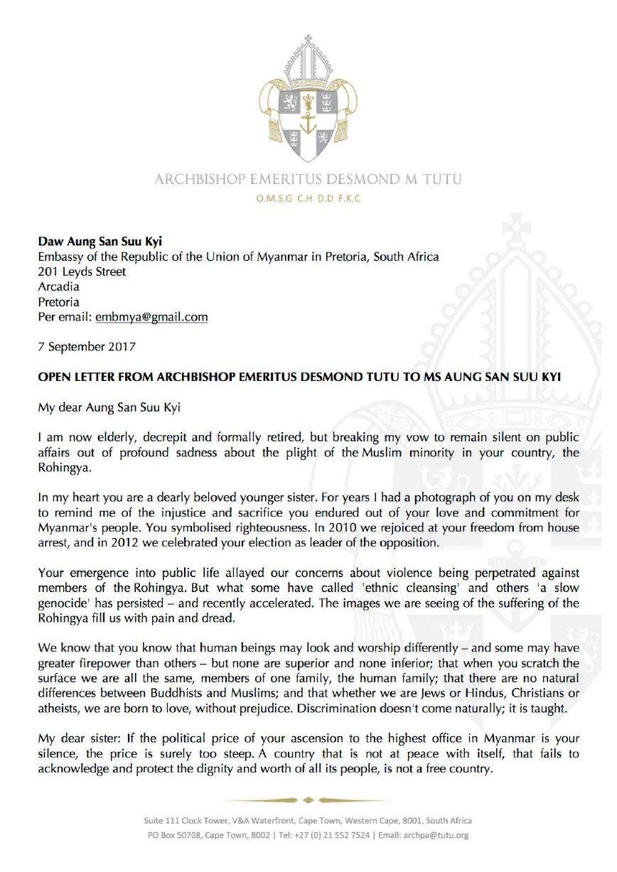 Desmond TutuS Letter To Aung San Suu Kyi Re Rohingya Crisis
