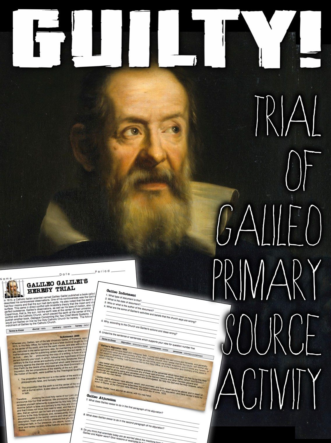 Galileo Primary Source Activity Galileo S Indictment By The Catholic Church