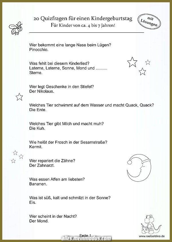 Kindergeburtstags Quiz Kinder Mehr Als 4 Jahre In 2020 Quizfragen Fur Kinder Schatzsuche Kindergeburtstag Schatzsuche Geburtstag